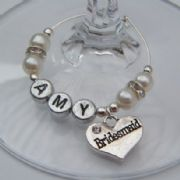 Bridesmaid Personalised Wine Glass Charm - Elegance Style